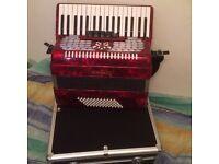 Scarlatti 72 bass 3 voice piano accordion, excellent condition with case