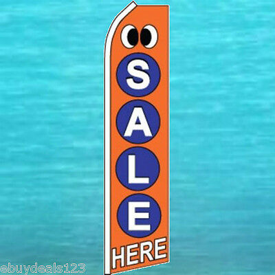 Sale Here Eyes Flutter Flag Tall Advertising Sign Feather Swooper Banner