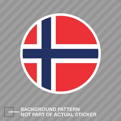 Round Decal Vinyl Sticker (Round Norwegian Flag Sticker Decal Vinyl Norway NOR)