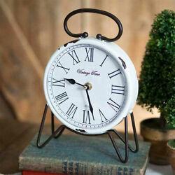 Vintage Time Tabletop Mantle Desk Clock Rustic Country Farmhouse Decor