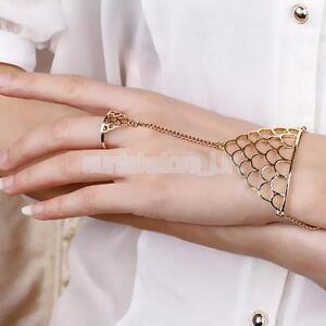 Women's Punk Gold Triangle Tassel Link Chain Hand Harness Ring to Wrist Bracelet