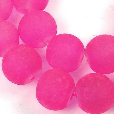 25 Frosted Sea Glass Round / Rocaille Beads Matte - Deep Pink 10mm