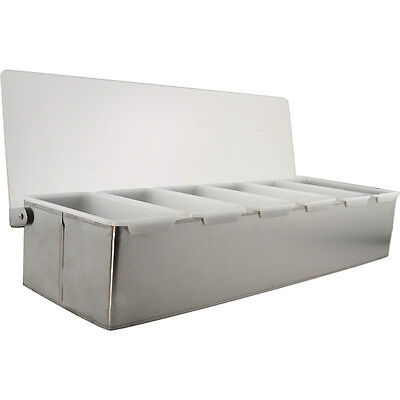 Bar Garnish Tray - Stainless Steel - 6 Compartments - Bartending Condiment Caddy