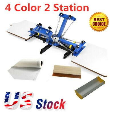 Us Stock 4 Color 2 Station Silk Screen Printing Machine 4-2 Press Printer Diy