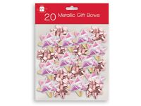 TWIN PACK OF 20 x gift bows Rose gold FREE POSTAGE
