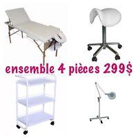 Ensemble 4 pièces: loupe, chariot , tabouret et table de soin
