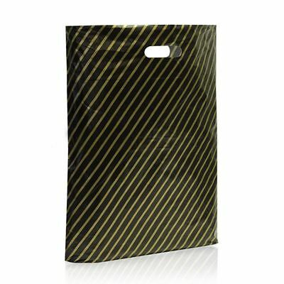 500 Black and Gold Striped Plastic Carrier Bags Stripe 9''x11'' Boutique Shop
