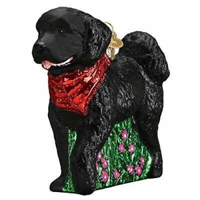 Old World Christmas 12560 Glass Blown Black Doodle Dog Ornament