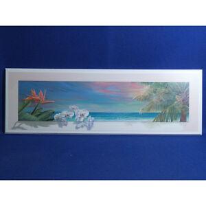 Tropical Beach Flower Print on Wood by Lynn Fecteau, 36 x 12 in.