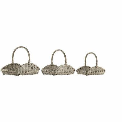 Willow Flower Basket set of 3 With Handles Danish Design by Ib Laursen