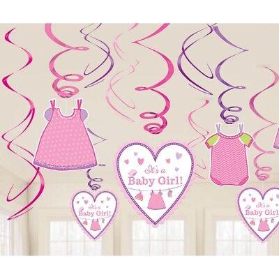 . es wird ein Mädchen Party Swirl Girlanden Geburtsanzeige (Es Ist Ein Mädchen Baby)