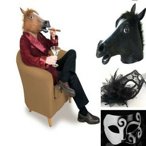 Creepy-Rubber-Latex-Head-Horse-Mask-Animal-Prop-Halloween-Costume-Fancy-Party
