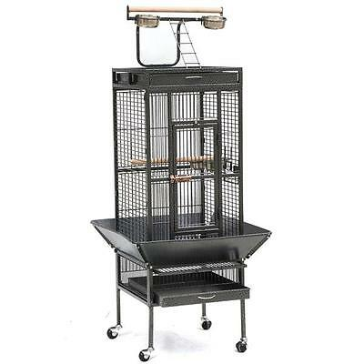 "61"" Black Parrot Cage Bird Cockatiel Parakeet Finch Playtop Gym Perch Stand"