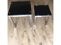 Black glass side tables x2