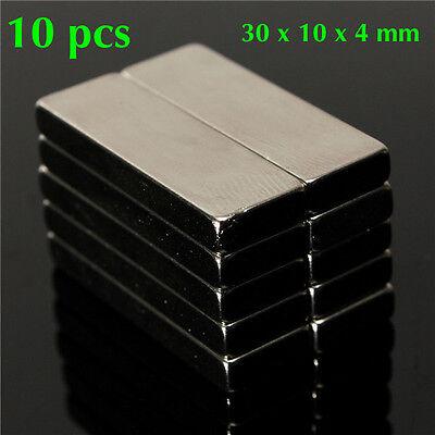 10 Pcs 30x10x4mm N50 Bulk Super Strong Strip Block Bar Magnets Rare E. Neodymium