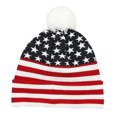 USA Flag Stocking Cap Stars & Stripes Acrylic Watch Cap Winter American Flag  (Stocking Stars)
