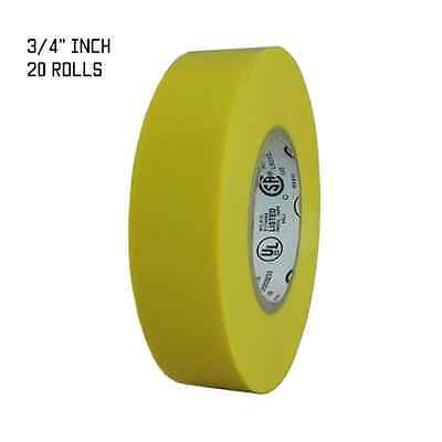 Tapessupply 20 Rolls Yellow Electrical Tape 34 X 66 Ft