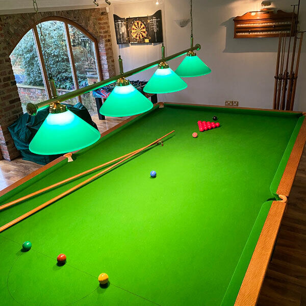 ANTIQUE RILEY IMPERIAL FULL SIZE SNOOKER TABLE BURROUGHES and WATTS with CUES etc