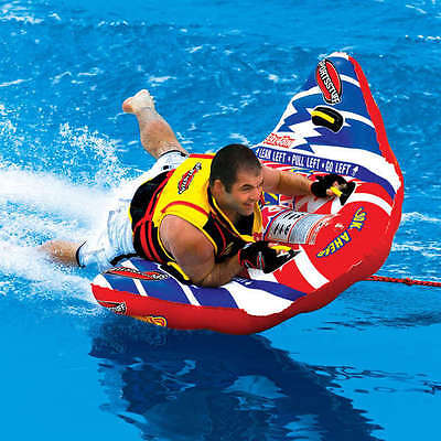 New River Lake Towable Wing Inflatable Tube Toy Single Rider Wake Wave Jumping