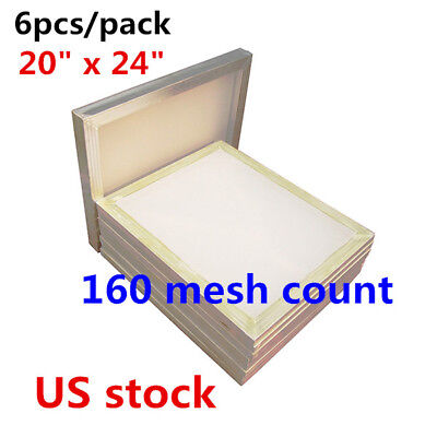 6pcs 20 X 24 Aluminum Frame Silk Screen Printing Screens With 160 Mesh - Usa