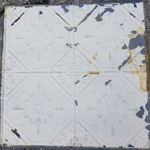 """Antique Metal Tin Ceiling Tile 24""""X 24"""" Panel Vintage Authentic 1900"""