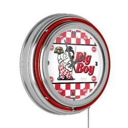 Bobs Big Boy Checkered Chrome Double Ring Neon Clock Home Restaurant Kitchen New