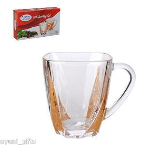 Turkish tea coffee mugs with handles set of 6 alpine for Alpine cuisine tea set