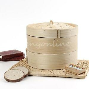 New-20cm-2-Tier-Bamboo-Steamer-Basket-Rice-Pasta-Cooker-Kitchen-Craft-Set-Lid