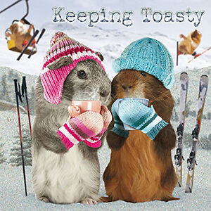 Guinea Pig Christmas Cards 'Keeping Toasty' Pack of 10 Glitter Spot Xmas Cards