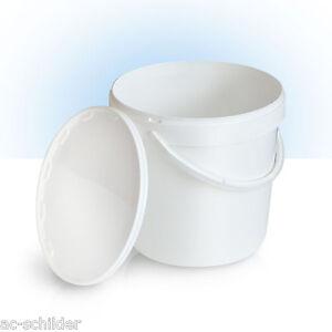 10 Stück 10 L Liter Eimer leer Leereimer weiß leere Kunststoffeimer mit Deckel