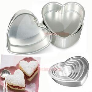 sizes wedding cake pan heart moulds tins decorating fondant baking