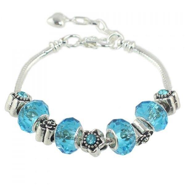 Faux Crystal Bead Flower Bracelet