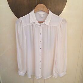 H&M White Blouse, Size 12