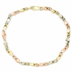 14k Yellow/White/Rose Gold TriColour Bracelet (7.5 inches) 3671