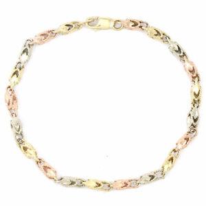 14k Yellow/White/Rose Gold TriColour Bracelet (7.5 inches) 3671