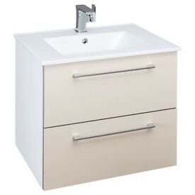 Vanity Unit - wall hung Beige high gloss - New and boxed