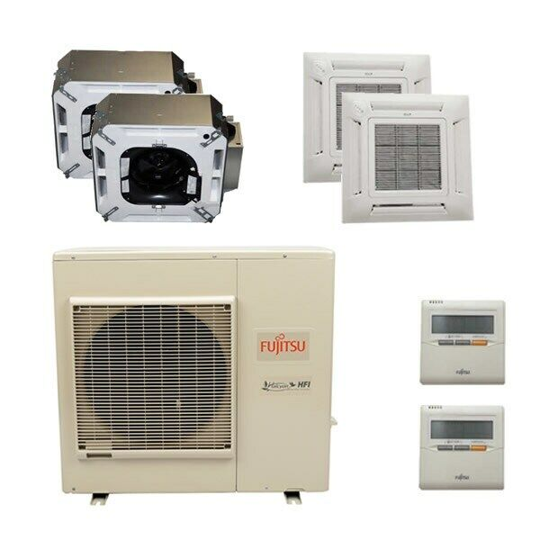 Fujitsu Ceiling Cassette 2-Zone System - 36,000 BTU Outdoor - 18k + 18k Indoo...