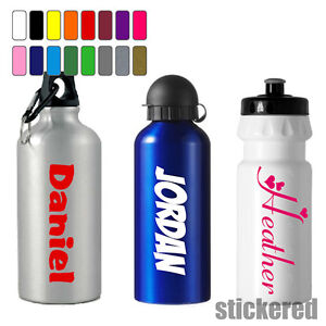 2 x PERSONALISED WATER / DRINKS BOTTLE NAME STICKERS FOR SCHOOL BIKE FOOTBALL