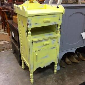 Shabby chic country home rustic yellow side table hall stand Glebe Inner Sydney Preview