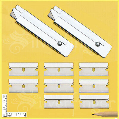 2 BOX CUTTERS + 8 REFILL SINGLE EDGE RAZOR BLADES CARTON UTILITY KNIFE BOXCUTTER