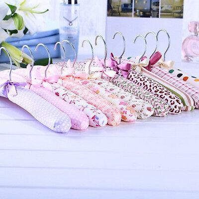 (5pcs Floral Satin Padded Coat Hanger for Dress Suit Skirt Coat Bridal Wedding)