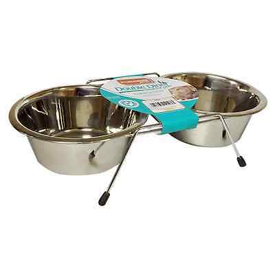 Kingfisher Double Diner Dog Puppy Bowl Stainless Steel On Stand Pet Feeder