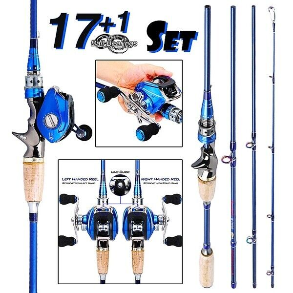 2.4M Carbon 4 Pieces Fishing Rod w/18BB Baitcasting Reel Freshwater, Right Hand