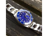 Rolex submariner blue dial automatic watch