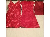 Bundle of red/white polka dot ladies clothes sz 10/12