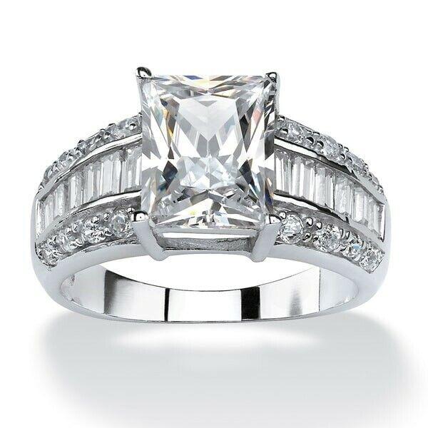 925 Silver White Sapphire Wedding Band Ring Women Fashion Jewelry Rings Size 6-9 Fashion Jewelry