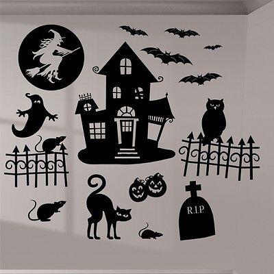 XXL Set Wandtattoo Halloween 30 Wandsticker Hexe Fledermaus Kürbis Gespenst neu
