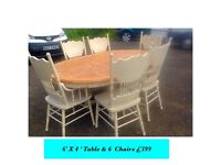 Solid oval Table and 6 chairs inc 2 carvers 6' X 4' shabby chic
