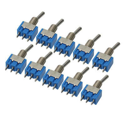 10pc Small Mini Spdt Mts-102 3pins 2 Position 6a 125vac On-on Toggle Ettr