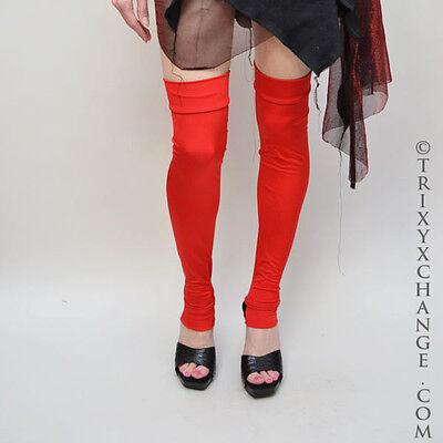 Red Leg Warmers Spandex Leggings Wetlook Harley Quinn Costume Legwarmers A28](Harley Quinn Spandex Costume)